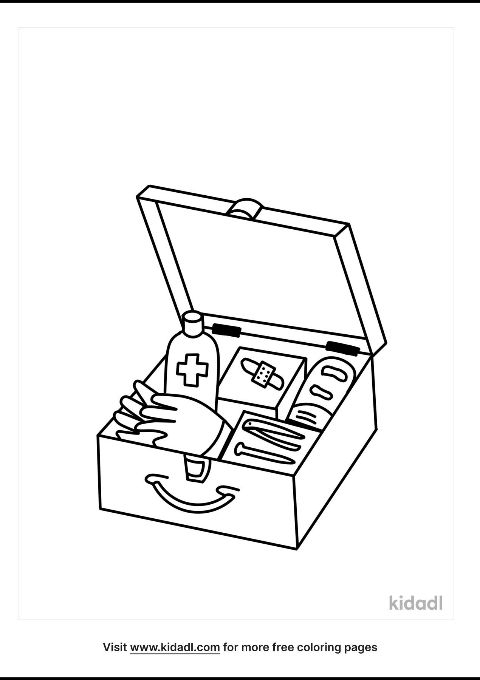 First Aid Kit Coloring Page Free At Home Coloring Pages Kidadl