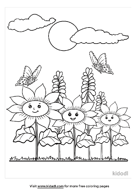 Flower Garden Coloring Pages Free Flowers Coloring Pages Kidadl